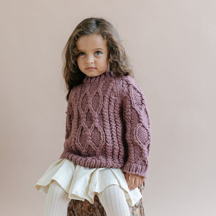 Mauve Fisherman Sweater | The Blueberry Hill