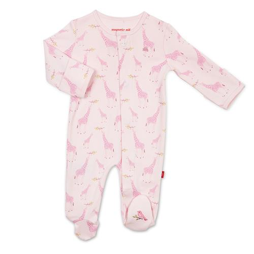 Pink Jolie Giraffe Organic Cotton Magnetic Footies | Magnetic Me
