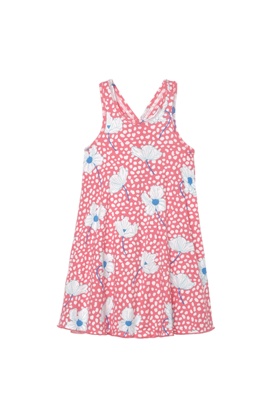 Coral Delicate Flowers Trapeze Dress | Hatley