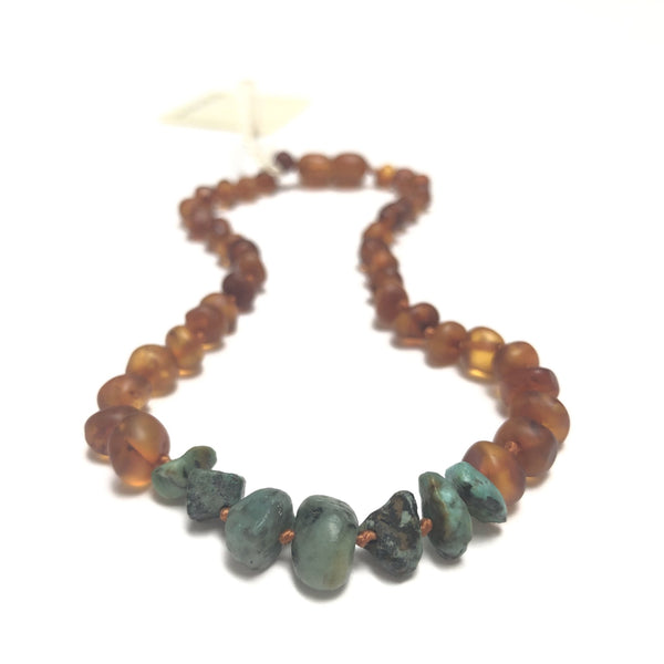 Raw Honey Baltic Amber & Turquoise Jasper Necklace | Canyon Leaf