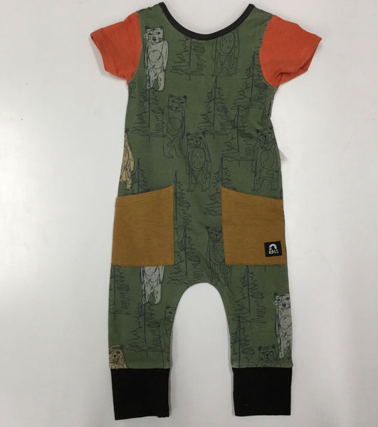 Olivine Scribble Bears Hip Pocket Romper | RAGS