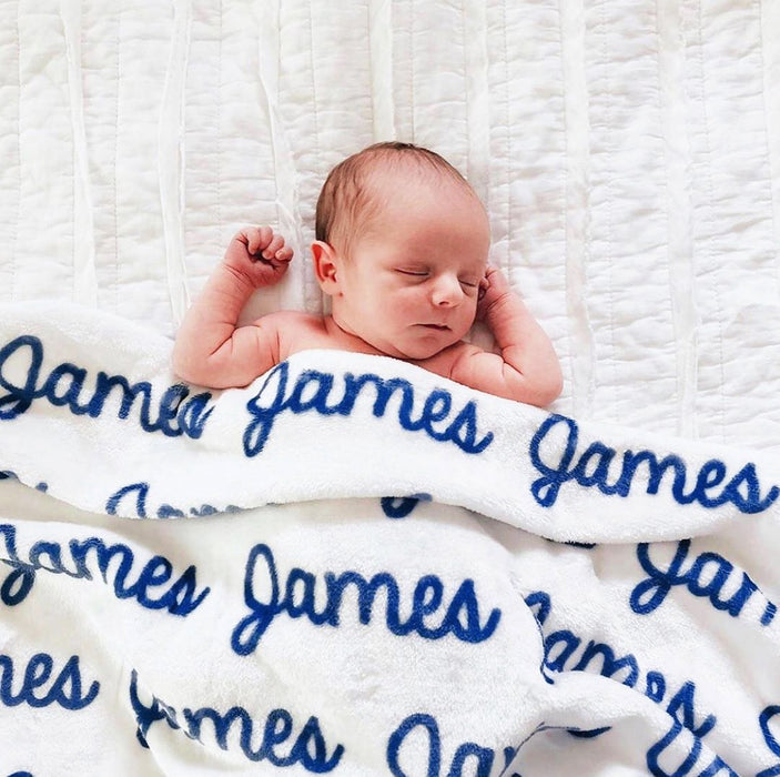 Personalized Plush Minky Blanket - Repeating Name | Sugar + Maple