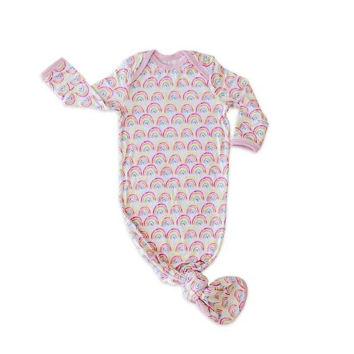 Pastel Rainbows Bamboo Infant Knotted Gown | Little Sleepies