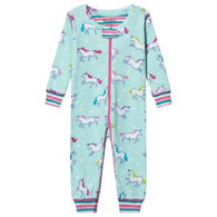 Blue Prancing Unicorns Organic Cotton Coverall Pajamas | Hatley