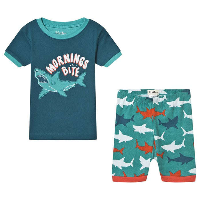 Great White Sharks Organic Cotton Applique Pajamas | Hatley