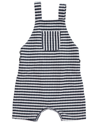 Navy & White Jersey Shortie Overalls | Me & Henry