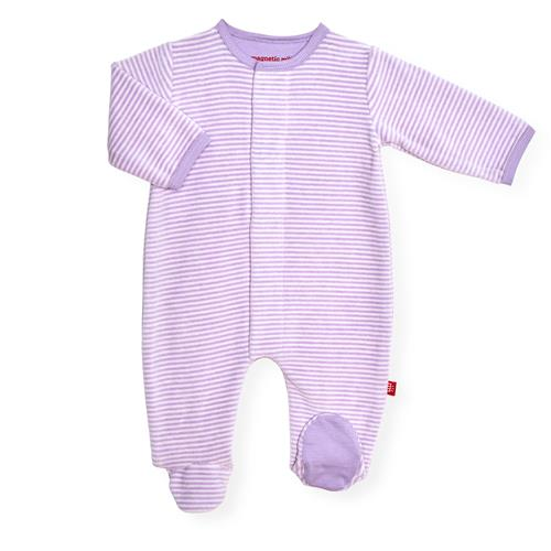Orchid-Cream Stripe Velour Magnetic Footie Pajamas | Magnetic Me