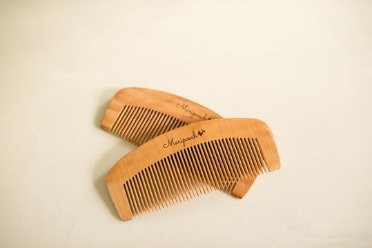 Mariposah Peach Wood Combs- 2 pack