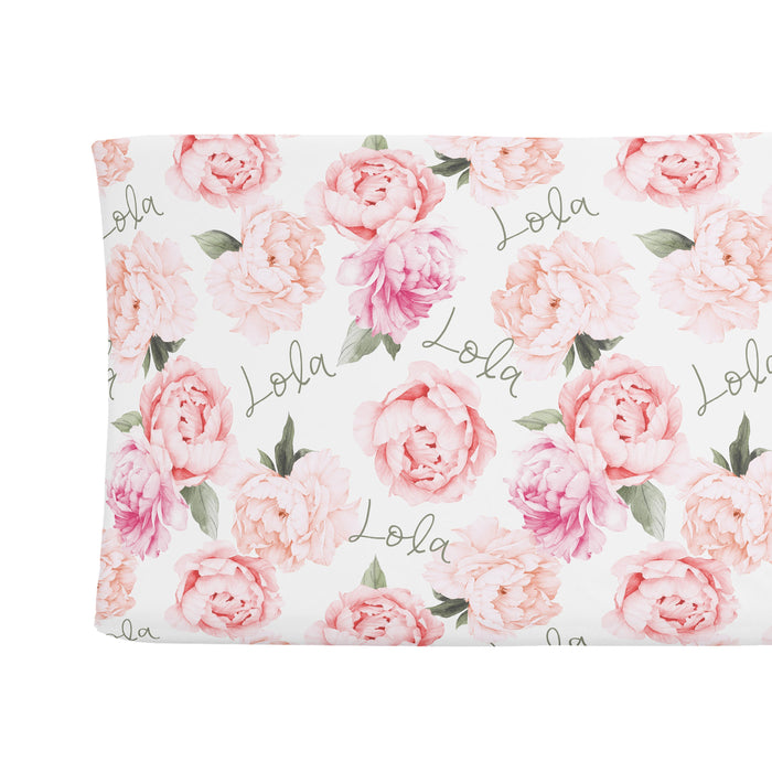 Personalized Changing Pad Cover - Peach Peony Blooms | Sugar + Maple