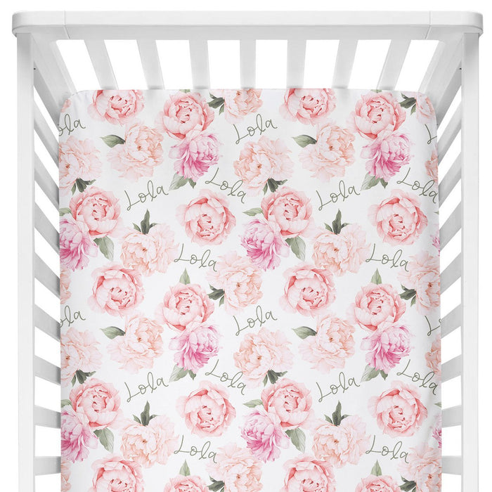 Personalized Crib Sheet - Peach Peony Blooms | Sugar + Maple