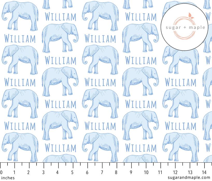 Personalized Small Stretchy Blanket - Elephant Blue | Sugar + Maple