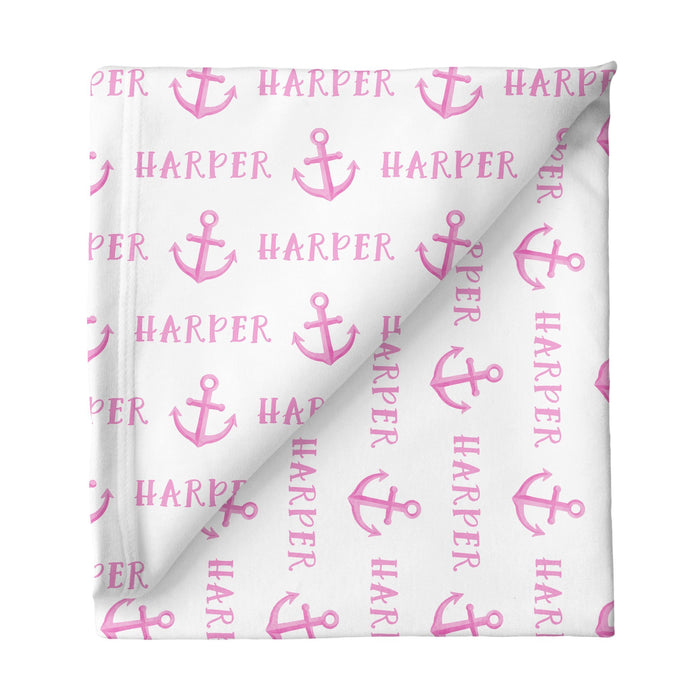 Personalized Large Stretchy Blanket - Anchor Pink | Sugar + Maple