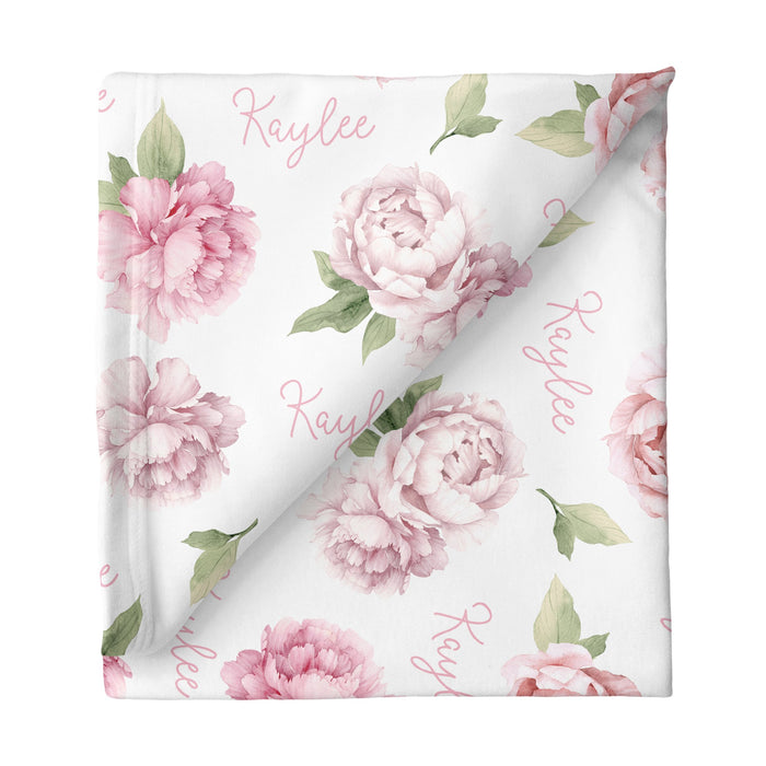 Personalized Small Stretchy Blanket - Pink Peonies | Sugar + Maple