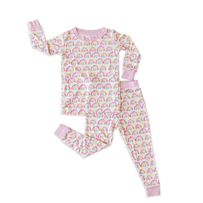 Pastel Rainbows Two-Piece Bamboo Pajama Set | Little Sleepies
