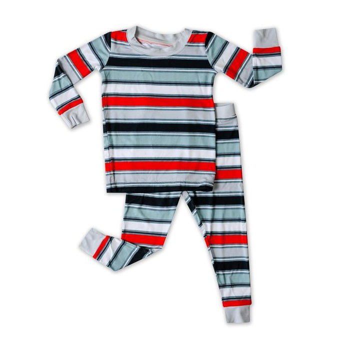 Winter Stripe Two-Piece Bamboo Pajama Set | Little Sleepies