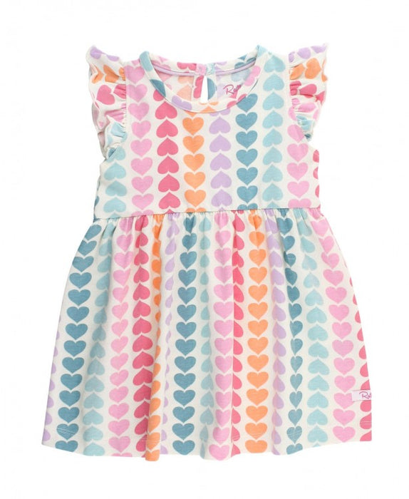 Rainbow Hearts Flutter Dress | Ruffle Butts