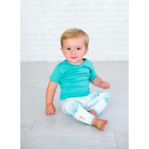Teal Sea Fan Organic Legging Prints | Lovedbaby - Nature Baby Outfitter
