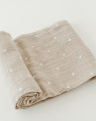 Taupe Cross Cotton Swaddle Blanket | Little Unicorn