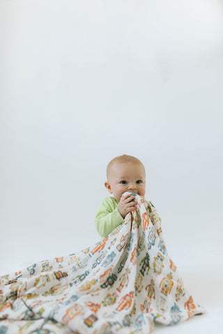 Robot Bamboo Swaddle Blanket | loulou lollipop