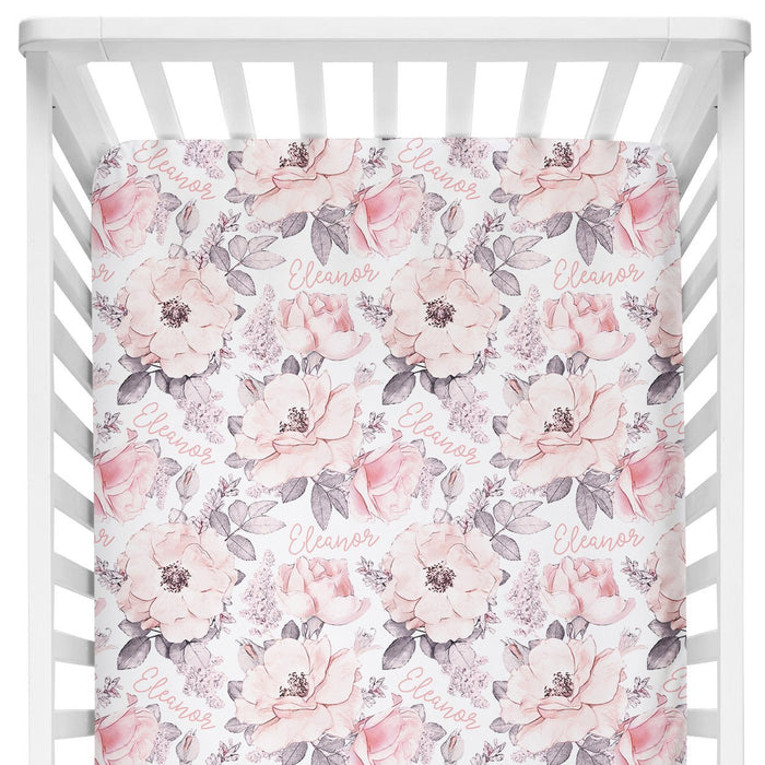 Personalized Crib Sheet - Wallpaper Floral | Sugar + Maple