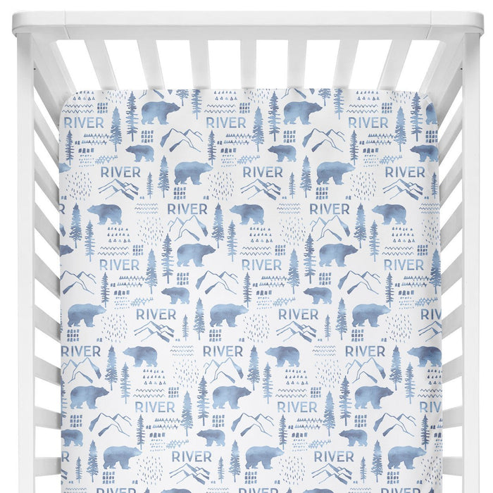 Personalized Crib Sheet - Woodland Blue | Sugar + Maple