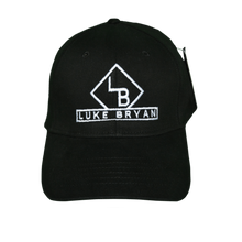 Load image into Gallery viewer, Black hat with white LB logo and Luke Bryan written out under the logo.