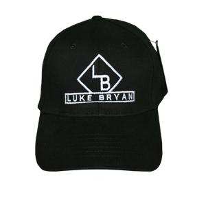 Black hat with white LB logo and Luke Bryan written out under the logo.