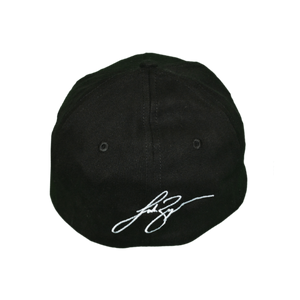 Back of black Luke Bryan hat, his signature is embroidered on with white stitching.