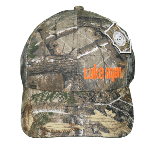Camo hat with Luke Bryan embroidered on front with orange letters. Mesh back.
