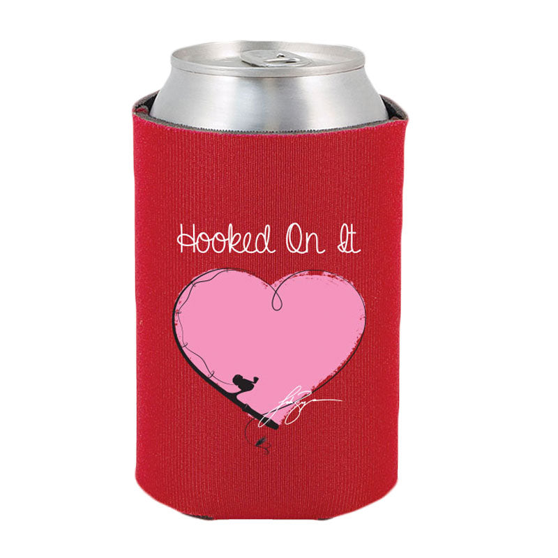 Hooked On It Heart Insulated Can/Bottle Holder