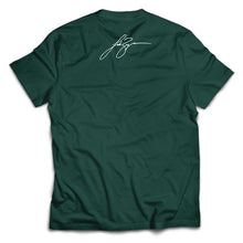 Load image into Gallery viewer, Hunter Green Team Huntin' Tee with Luke signature on top.- Back