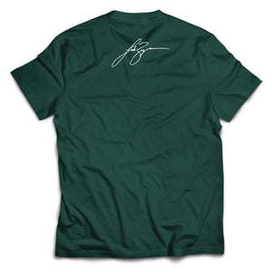 Hunter Green Team Huntin' Tee with Luke signature on top.- Back