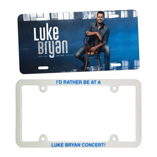 Luke Bryan License Plate Bundle. License Plate is the Born Here, Live Here, Die Here, album cover. The plate frame is white and says: