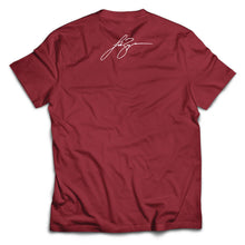 Load image into Gallery viewer, Heather red Team Lovin' Tee with Luke Signature on back. - Back