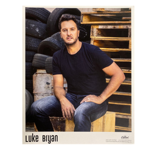 Luke Bryan 2020 8x10 poster Black shirt tires in the background