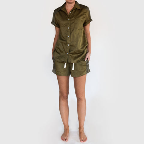 olive organic cotton short sleeve shirt - PENNEY + BENNETT