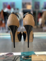 Jimmy Choo Kid/Nappa Leather heels- Black/Nude 36.5