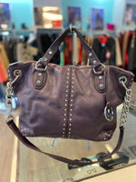 Michael Kors purple leather silver studded purse