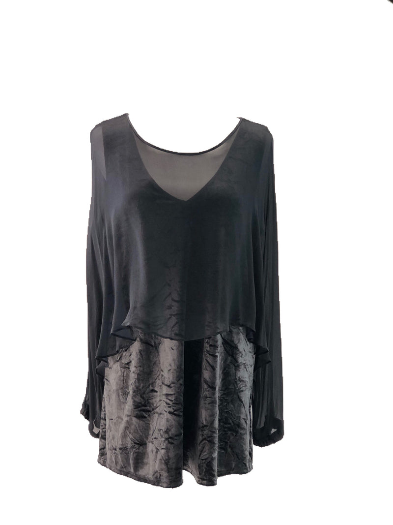 Lola & Sophie silk grey blouse size Large