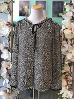Talbots black and white pattern blouse Size M