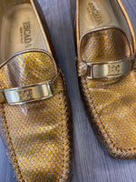 Escada metallic gold loafers size 6.5
