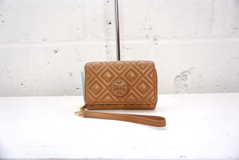Tory Burch light brown padded leather wallet