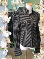 Bebe blouse button up blouse stripe Size medium
