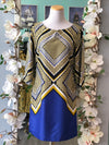 Banana Republic yellow and blue dress size 4.