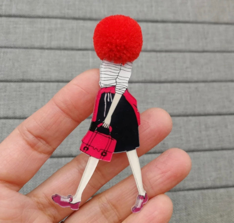 Fashion stylish plastic brooch set (3 items) with pompon