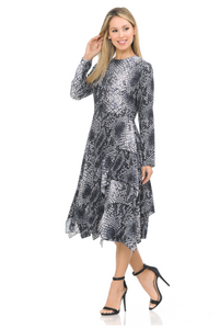 IV FALLING LAYERS PRINT DRESS