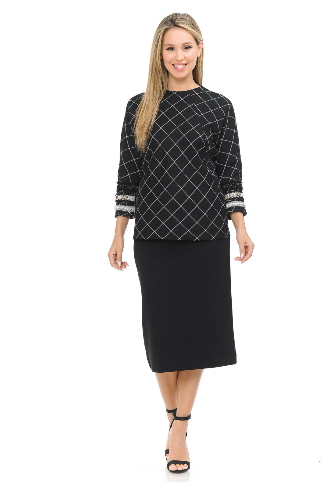 IV CHECKERED WITH SLEEVE TRIM TOP