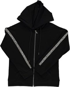 BGDK WOMENS EMBELLISHED SLEEVE COTTON HOODIE