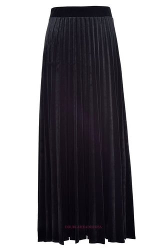 HK LADIES MAXI VELOUR ACORDIAN PLEATED SKIRT - Head Over Heels - Israel