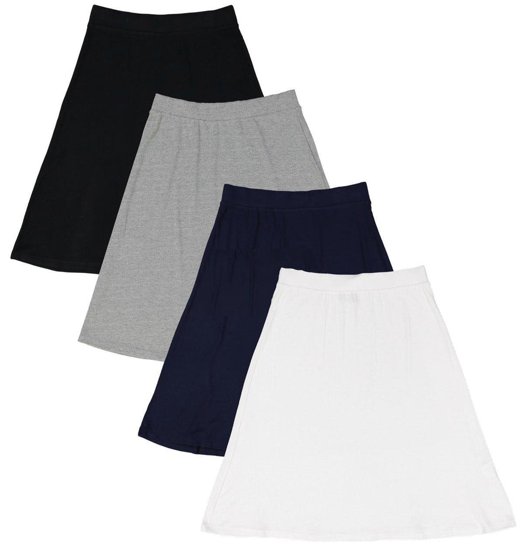 HK LADIES SOLID RIBBED A LINE KNIT SKIRT - Head Over Heels - Israel